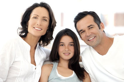 Happy family with one child - portrait