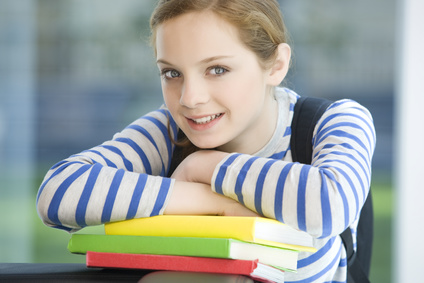 Teen student with books